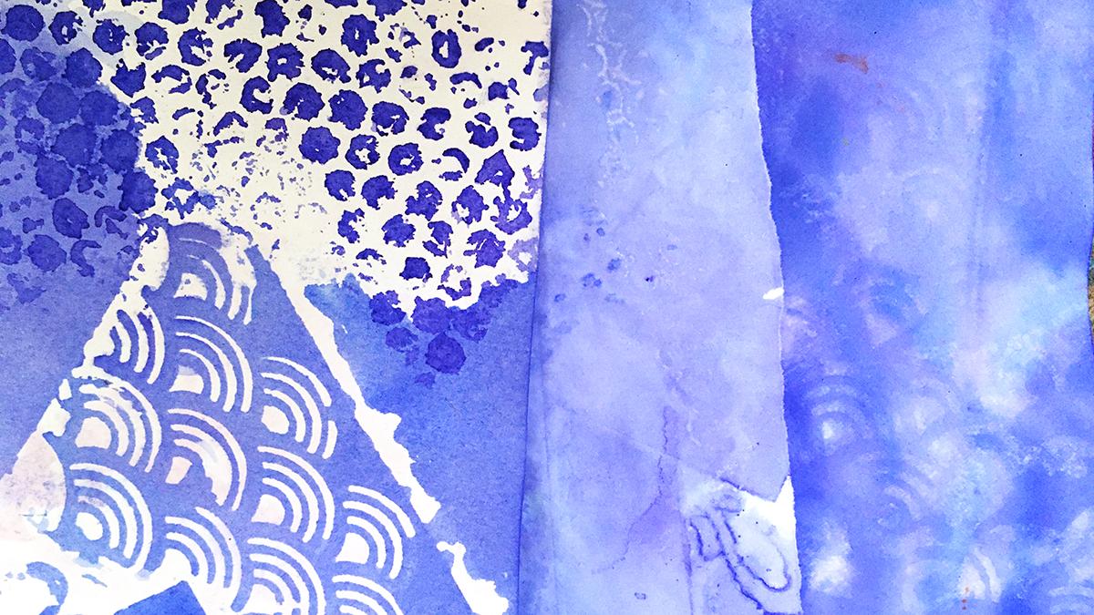 Stenciling Violet-Blues