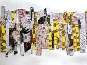 Gallery postcards, chopped up, collaged.